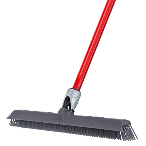 RAVMAG Silicone- Rubber Broom Incredibly Tough & Durable Build- Adjustable Knuckle Joint- Integrated Squeegee- Comfortably Long Handle- Washable- Scratch Free Bristles- Perfect for Pet Hair!