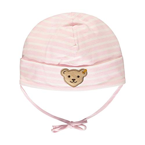 Steiff Baby-Mädchen mit Streifen und Teddybärmotiv Mütze, Rosa (Barely Pink 2560), 49 (Herstellergröße: 049)