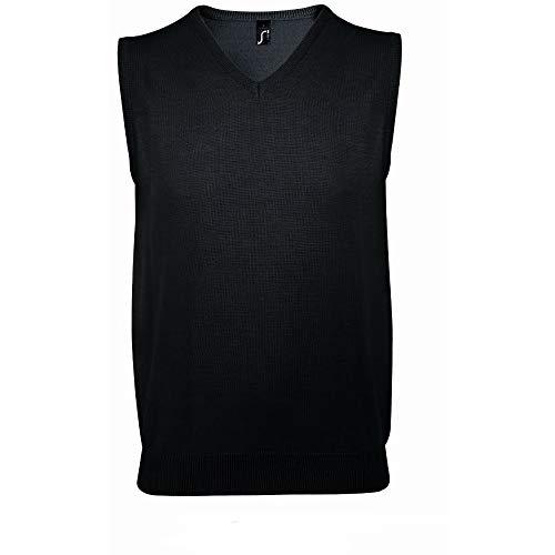 SOLS - Jersey sin mangas cuello pico Modelo Gentlemen Unisex hombre mujer (3XL/Negro)