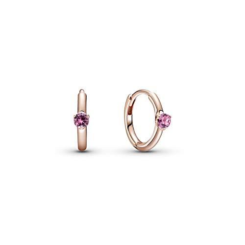Pandora Pendientes de aro de oro rosa con aleación de metal chapado en oro rosa de 14 quilates y cristales de la colección Pandora Timeless
