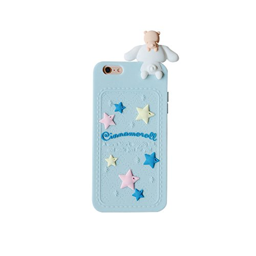 Blue Dog Puppy Luxury Designer Soft Silicone Rubberized 3D Cartoon Case for iPhone 6 6s iPhone6 iPhone6s Cute Lovely High Fashion Kawaii Cool Japanese Gift for Teens Little Girls Women Cinnamoroll