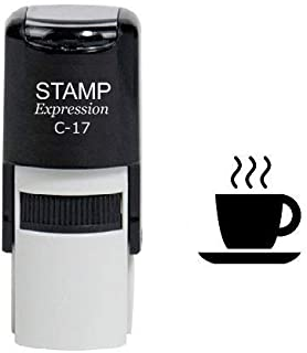 StampExpression - Steaming Cup of Coffee Self Inking Rubber Stamp - Black Ink (A-6316)