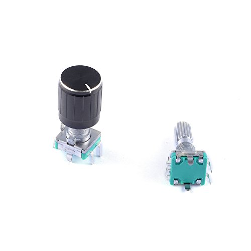 Cylewet 5Pcs 360 Degree Rotary Encoder Code Switch Digital Potentiometer with Push Button 5 Pins and Knob Cap for Arduino (Pack of 5) CYT1100