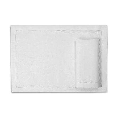 2 Tovagliette lino - tovagliette americane lino - tovagliette colazione - tovagliette americane stoffa - tovagliette americane tessuto - tovagliette sottopiatto - bianco