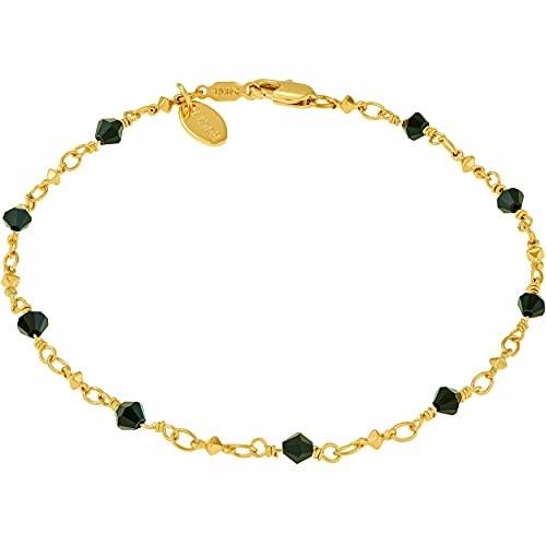 LIFETIME JEWELRY Diamonds Anklet Bracelet 24k Real Gold Plated for Women & Teen (Black beads, 10)