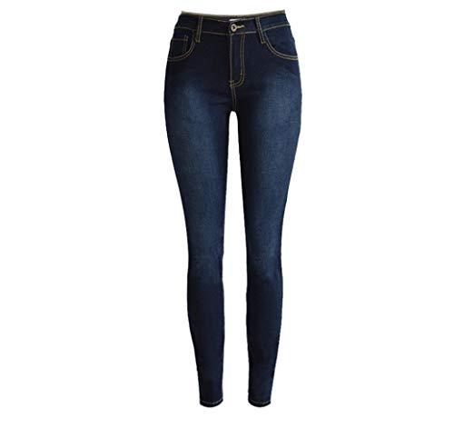 XinXinFeiEr Estiramiento Cintura Delgada Pantalones De Mezclilla Tramo De Los Pies De La Personalidad Casual (Color : Dark Blue, Size : 40)