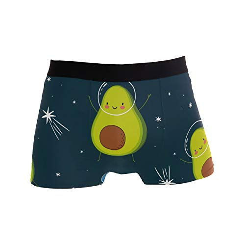 JERECY Cute Cartoon Avocado Fruit Space Planet Boxer Briefs Herren Unterwäsche Jungen Stretch Atmungsaktiv Low Rise Trunks S Gr. M, mehrfarbig