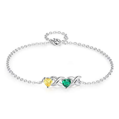 Personalizado Pulsera con Nombre Grabado Plata Ajustable Corazón Pulsera para Mujer Personalizada Regalo para Día de San Valentín Navidad Día de la Madre (2 nombres)