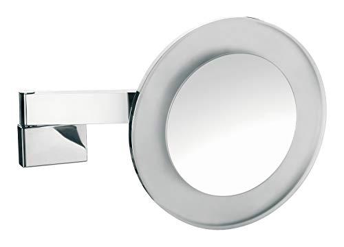 Emco Kosmetikspiegel rund, mit Beleuchtung, dimmbar, Badspiegel mit Gelenkarm, 5-fach vergrößert – 109606008