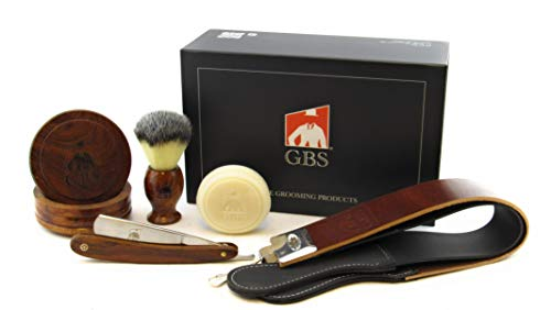 GBS Shave Ready Professional Wood Shaving Set- Gift Boxed, Wood Shave Soap Bowl, 5 8  Carbon Steel Wood Handle Scales Straight Razor, Badger Hair Shave Brush with Leather Strop Ultimate Gift for Men!