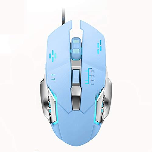 Ratón para juegos con cable y programables 6 Botones, Led de luz de fondo, manija cómoda, con botón de alarma de incendio, PC USB ratón del juego, para el ordenador portátil Los jugadores MAC,Azul