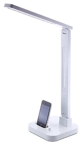 Diasonic LED-tafellamp met iPod Dock en luidspreker, compatibel met iPhone 3/3G/3GS/4/4S, iPod Touch 4. generatie en iPod Nano 6. generatie - wit