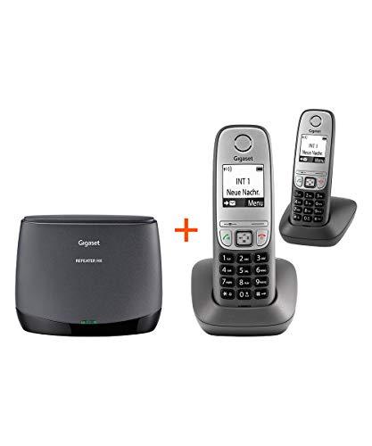Gigaset Repeater HX + Schnurlos-Telefon Comfort Duo - DECT-Repeater und 2 schnurlose Telefone - Set für erhöhte Reichweite, schwarz/anthrazit