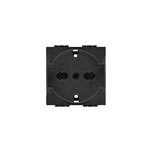 LineteckLED -LNT 814- Serie Completa Materiale Elettrico Fai da Te- Presa Schuko 16A 250V Antracite Compatibie living