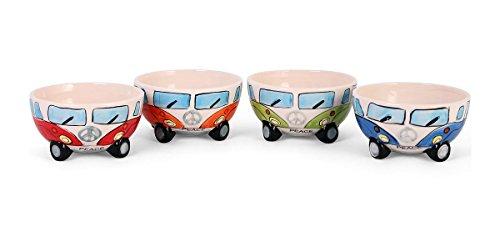 Camper Bus 4-TLG. Müslischalenset aus Keramik