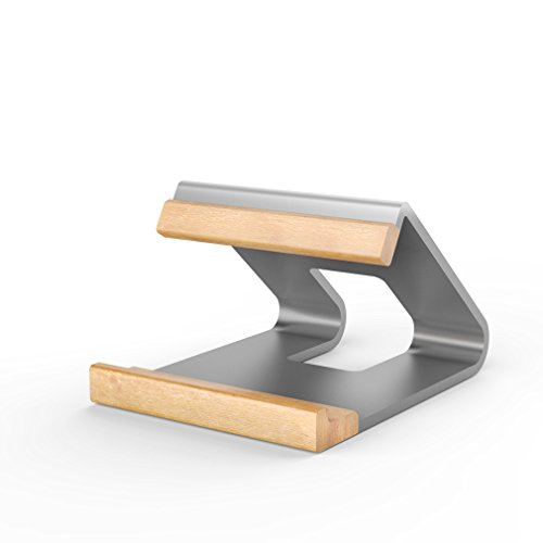 Granvela Rock alluminio metallo + legno di supporto per MacBook e altri laptop portatili–argento