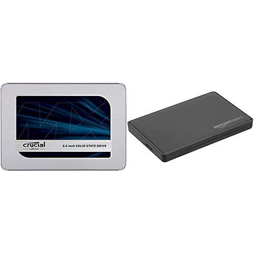 Crucial MX500 2TB CT2000MX500SSD1(Z)-bis zu 560 MB/s (3D NAND, SATA, 2,5 Zoll, Internal SSD) & AmazonBasics - 6,35 cm SATA-Festplattengehäuse, USB 3.0