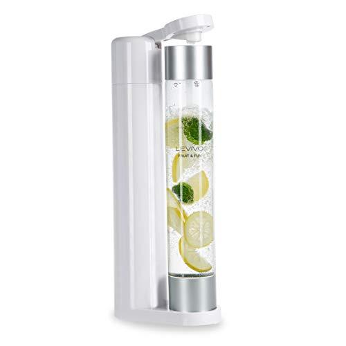 Levivo Gasificador Fruit & Fun Sin cartucho de CO², Gas para Agua, cócteles y Otras Bebidas, Cilindro, Blanco, 1 Litro