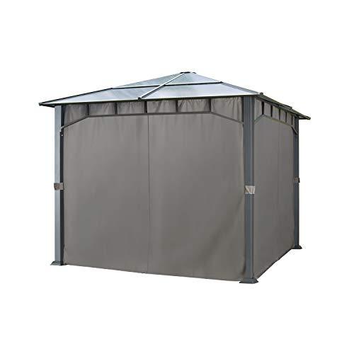 4 Seitenteile für Gartenpavillons 3x3 m - Polyester ca. 180 g/m²- mit Reißverschluss - dunkelgrau