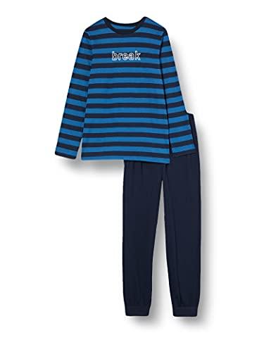 Schiesser Jungen Langer Jungen Schlafanzug Pyjamaset, Blau, 176 EU