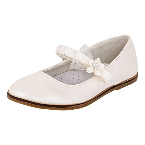 Giardino Doro Edle Festliche Innen Leder Kinder Mädchen Schuhe Ballerinas mit Klettverschluss M524pews Perlmutt Weiß 36 EU