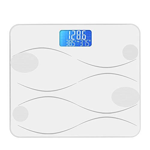 Balanzas de grasa corporal Bluetooth, básculas de pesaje de baño digitales inteligentes para el analizador de composición corporal con aplicación inteligente, 180 kg,Blanco