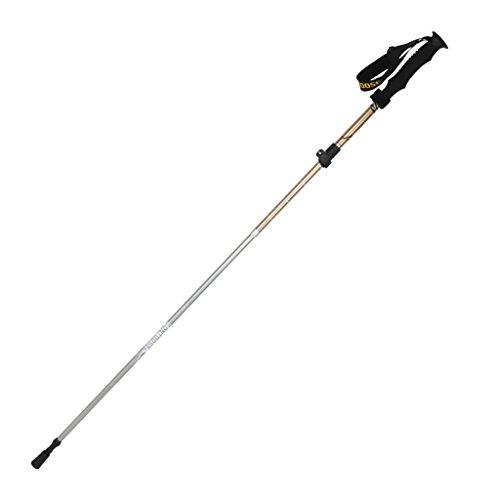 Poteau de trekking pliant ultra-léger extérieur ultra-léger poignée droite rétractable à l'extérieur du bâton de verrouillage béquilles de matériel de randonnée ( Color : Gold , Size : Male )