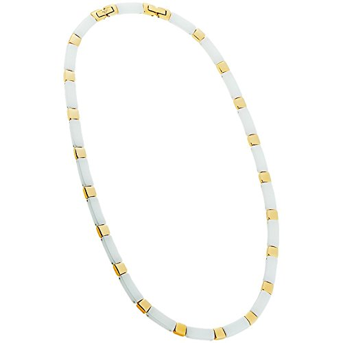 Damen Collier Ceramic Stahl weiß vergoldet 50cm 70-435101-50