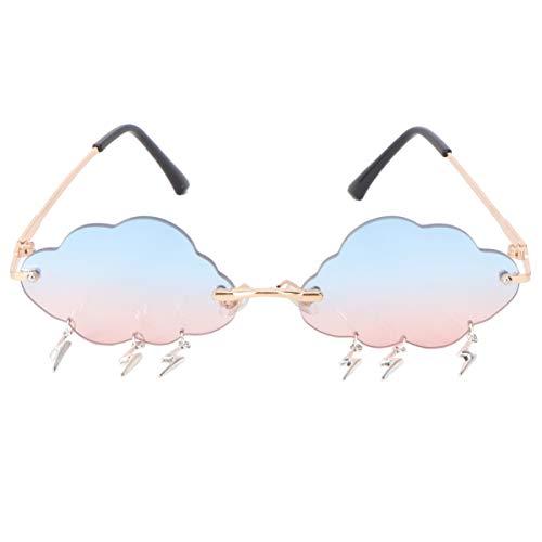 VALICLUD - Gafas de sol para mujer, gafas de sol sin montura en forma de nube con colgantes de rayas, gafas de sol a la moda, lente colorida gris rosa Talla única