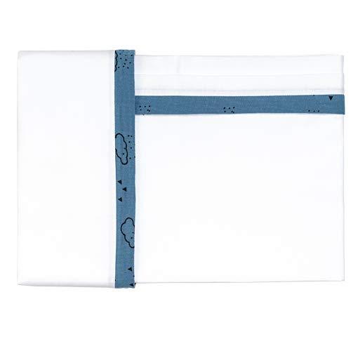 Parure de lit 3 pièces brodée Picci Liberty Var 32 bleu
