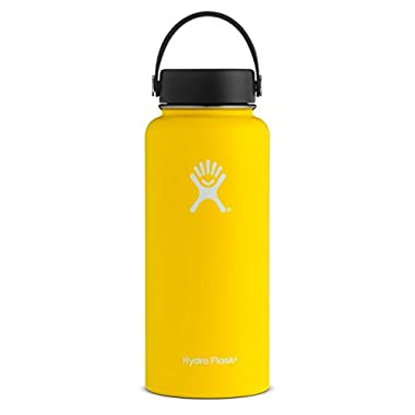 Hydro Flask 32 oz Double Wall Vacuum Insulated Stainless Steel Leak Proof Sports Water Bottle, Wide Mouth with BPA Free Flex Cap, Lemon