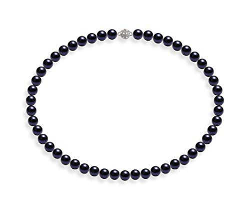 Schmuckwilli Damen Muschelkernperlen Perlenkette Dunkel Blau Magnetverschluß echte Muschel 50cm dmk0011-50 (8mm)