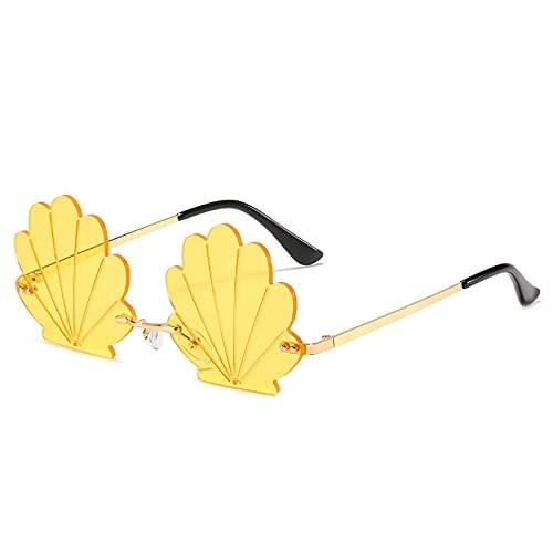 JIYANANDPNTYJ Gafas De Sol Mujer Fashionless Shell Shell Gafas de Sol Señoras Retro Metal Personalidad Floral Gafas de Sol Mujeres (Lenses Color : Yellow)