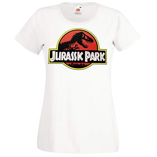 Youth Designz Maglietta da donna modello Jurassic T-Rex bianco M