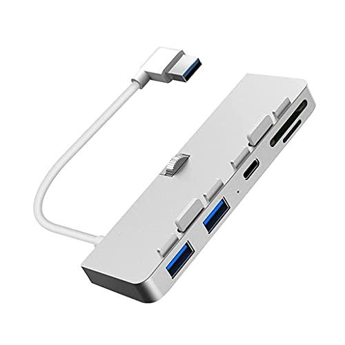 Splitter USB Multifuncional, aleación de Aluminio USB 3.0 HUB Splitter con Lector de Tarjetas SD/TF