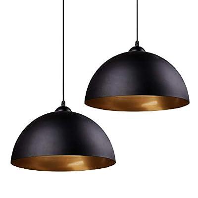 Frideko Industrial Pendant Light - 2 Pack Vintage Hanging Lighting Fixuture with Black Metal Dome Lamp Shade for Kitchen Island Retaurant (Black Outside Gold Inside)