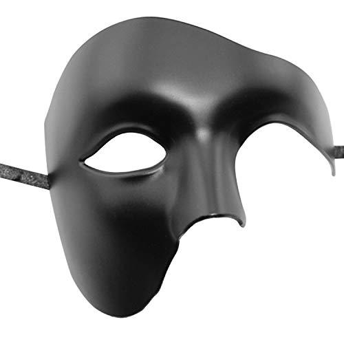 Clyhon Herrenmaske Maskerade Mask Opera Phantom Halbgesichtsmaske (schwarz)