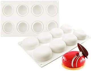 Round Silicone Mousse Cake Mold, 8 Cavities Stone Shape Non-stick Bakeware Silicone Baking Mold DIY Cake decorating Tools