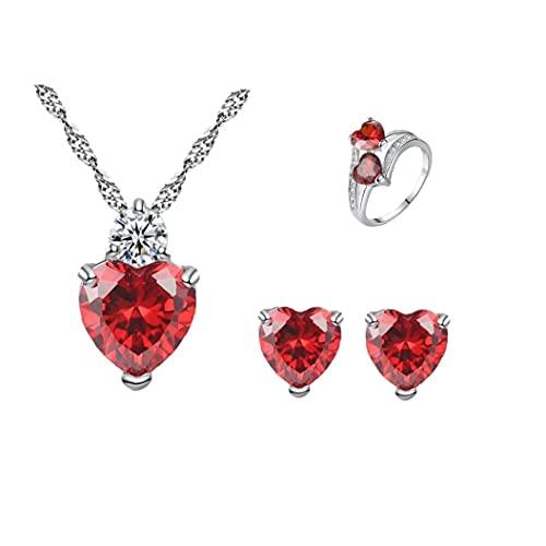 Tuimiyisou Rojo circón joyería La joyería determinada del corazón del Amor circón Pendientes del Collar del Sistema del Anillo de Moda para Mujeres Niñas 1Ponga