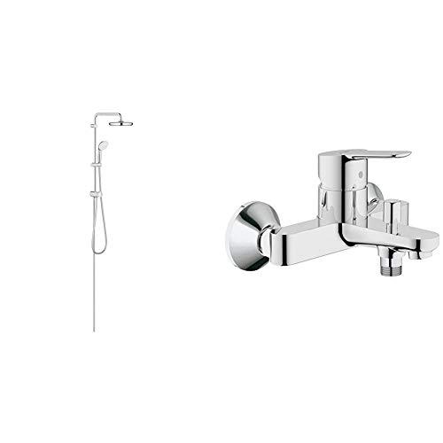 GROHE Tempesta System 210 | Brause- & Duschsystem - chrom | 26381001 & BauEdge | Badarmatur - Einhand-Wannenbatterie, mit automatischer Umstellung für Badewanne und Dusche und Keramikkartusche| chrom