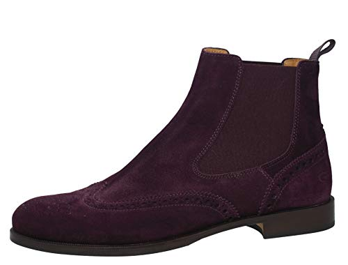 Gallucci 5078A Chelsea Boots Stiefeletten mit Budapester Muster, Unisex (41 EU, Rot Prugna)