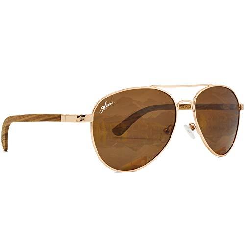 glozzi houten pilotenbril - zonnebril voor heren en dames gepolariseerd met houten beugels - UV 400 categorie 3 - met brillenkoker van kurk