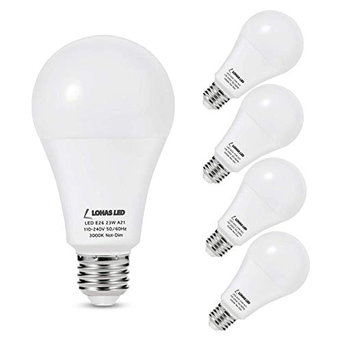 LOHAS A21 LED Light Bulb, 23W Light Bulbs(150W-200W Equivalent), 2500 Lumen Super Bright LED, Soft/Warm White 3000K, E26 Medium Base Light, Not-Dimmable, LED Bulb High Lumen for Home Lights, 4 Pack
