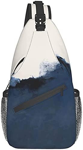 Modische Umhängetasche, geeignet für tägliche Reisen, Sport, Outdoor, Reiten, Wandern, abstraktes Blau, Beige, Indigo