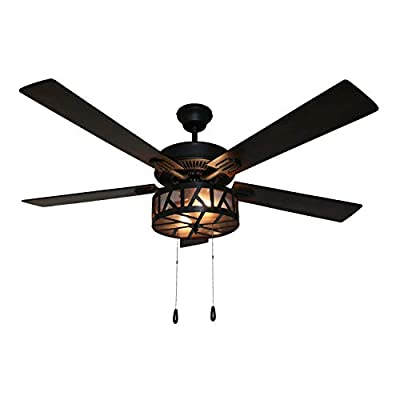 River of Goods Industrial 52 Inch Width Caged LED Ceiling Fan, Black
