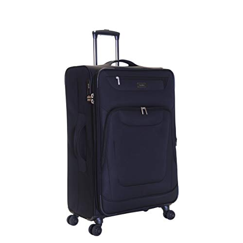 Karabar Medium Large Expandable Suitcase Luggage Bag Lightweight 68 cm 3.5 kg 70 litres Soft Shell with 4 Spinner Wheels and Integrated TSA Number Lock, Mayfair Black