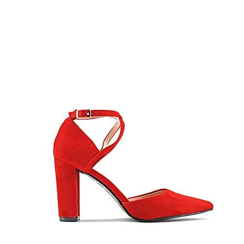 Modelisa - Zapatos De Tacón Ancho Salón Tejido Hebilla Tobillo Mujer (Rojo,...