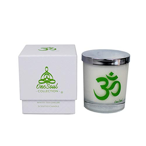 White Tea Ginger Aromatherapy Scented Candle with Om...