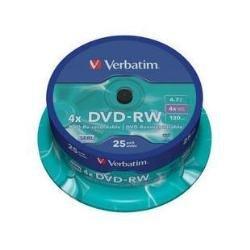 Verbatim DVD RW 4,7 GB - 4-fache Brenngeschwindigkeit - hohe Lebensdauer - Kratzschutz - 25 Stück Spindel