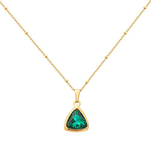 18K Gold Plated Green Crystal Pendant Necklace Triangular Pendant Dainty Choker Jewelly for Women Girls